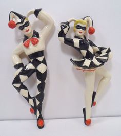 Set of Harlequin & Columbine Ceramic Arts Studio of Madison Jester Wall Figurine