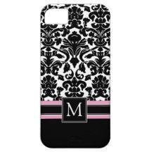 Damask Pattern with Monogram iPhone 5 Covers