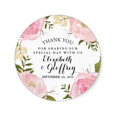 Modern Vintage Floral Wedding Thank You Favour Stickers | Romance Garden Wedding Stationery Suite |  Elegant light pink wedding personalised thank you stickers with hand drawn* pink roses, pink flowers, pink peonies, purple peonies, beige flowers, dark green leaves and twigs in watercolor hand painted style. Sophisticated handwritten font style, with classic chic typography. Trendy wedding invitation. Some elements by CreateTheCut.com. <br /> <b>***PLEASE NOTE: Hand drawn illustrations style…