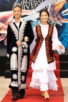 kazakhstan's traditional costume ,Limkokwing University of Creative Technology Folk Costume, Costumes, Country Dresses, Kazakhstan, World Cultures, International Fashion, Ethnic Fashion, Historical Clothing, Traditional Dresses
