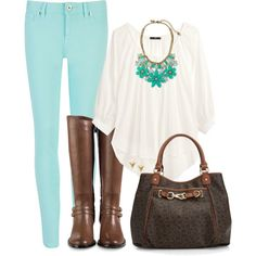 """""""Green and White"""" by ohmeejean on Polyvore"""