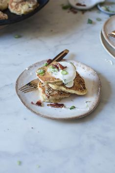 Chestnut Pancakes With Bacon And Creme Fraiche Recipe — Dishmaps