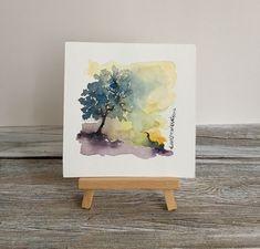 Nature Tree Watercolor, Art Lover Gift, Watercolor Landscape Painting, Original Watercolor, Contemporary Art, Modern Art, Little Wall Decor