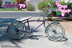 """I fully rebuilt this 1970 Schwinn Stingray Fastback from an immobile, rusted and weathered original. Original pedals, shifter and parts and derailleur were salvaged. Powder coated Candy Purple, 20"""" Bent Springer Fork and 144 Spoke Dayton wheels with white wall tires. I call her """"The Grape Escape."""""""