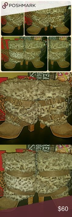 BUCKLE NAUGHTY MONKEY LEOPARD FUR STRAP GLAM BOOTS NAUGHTY MONKEY FROM BUCKLE fuzzy LEOPARD FAUX FUR, STRAPPY buckle, & heeled SLIP ON KILLER KOOL BOOTS...they are a LADIES SIZE-9, in ABSOLUTE AWESOME pre-owned condition naughty monkey Shoes