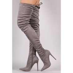 Pointy Toe Drawstring Tie Stiletto Suede Over-The-Knee Boots ($64) via Polyvore featuring shoes, boots, pointed toe high heels stilettos, high heel stilettos, thigh boots, suede boots and over the knee suede boots