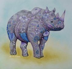 Visit the post for more. Colouring Pages, Coloring Books, Rhino Art, Curious Creatures, Doodles, Color Pencil Art, Colorful Pictures, Animal Kingdom, Adult Coloring