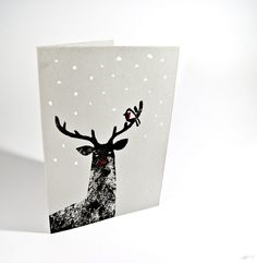 Linocut Reindeer Christmas Card by Jason Hibbs Diy Christmas Cards, Christmas Design, Xmas Cards, Christmas Art, Reindeer Christmas, Linoprint, Christmas Makes, Tampons, Kirigami