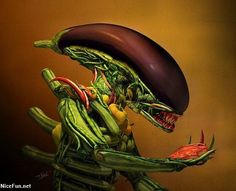 """Alien Salad By Till Nowak """"A tribute to the fantastic biomechanical creations of H. Giger and the vegetable portraits of Giuseppe Arcimboldo"""" Giuseppe Arcimboldo, L'art Du Fruit, Fruit Art, Food Sculpture, Sculptures, Art Alien, Creative Food Art, Creative Ideas, Fruit And Vegetable Carving"""