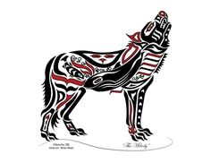 The Melody - Pacific Northwest Coast Art, Native American Art, Haida Tlingit Wolf, Alaska Art Decor - RED Native American Wolf, Native American Symbols, Native American Design, Native Design, American Indian Art, Native Canadian, Haida Kunst, Arte Haida, Haida Art