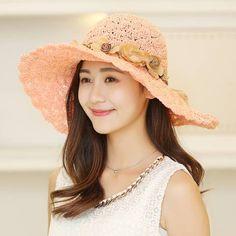 Hand crochet straw hat with flower for women beach wide brim sun hats summer  wear 27f96cbc1e57