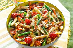 Veggie Salad-Pasta Toss Recipe - colourful and filled with the season's freshest vegetables!