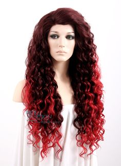"""Long Curly 26"""" Medium & Dark Red Mix Lace Front Synthetic Fashion Wig"""