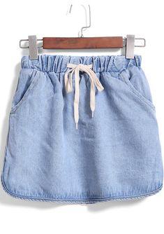 Shop Blue Drawstring Waist Denim Skirt online. SheIn offers Blue Drawstring Waist Denim Skirt & more to fit your fashionable needs.