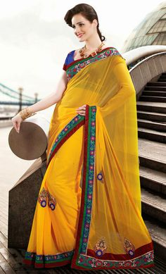 Glamorous Golden Yellow Saree