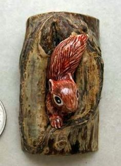 Carved Ox Bone and Wood Squirrel in Hollow Tree Button