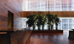 Cascade Coil metal drapery in the Chicago  Hyatt Center lobby.