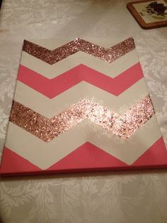 DIY Chevron Wall art. So cute! Just use color schemes from your bedroom for the chevron stripes.