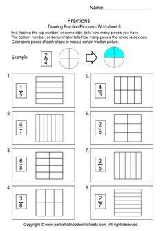 Letter M Worksheets For Kindergarten Word Fractions Addition  Worksheet    Fractions  Pinterest  Division Of Money Worksheets Excel with Homophones And Homographs Worksheets Excel Printable Fraction Worksheets For Helping Kids To Learn The Basic Concept  Of Fraction Shading Or Color In Some Parts Of The Shape To Make A Certain   Grammar Worksheets Year 6 Excel