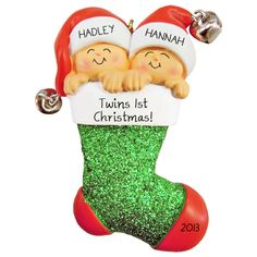 Personalized Twin Ornament Baby's First Christmas Twins by clayqts ...