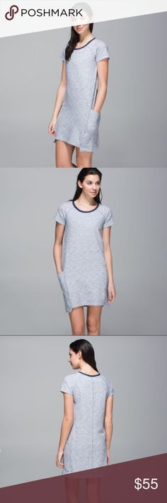 🆕Lululemon Cut Above Dress Heathered Space Dyed Lululemon Cut Above Dress • Heathered Space Dyed Gris / Deep Navy • more pictures coming soon, modeled pics are for styling only refer to actual pictures for condition. designed for: to-and-from fabric(s): Stretch French Terry shelf bra: slim front length: mini (longer in back) lululemon athletica Dresses