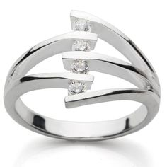 4 stone rings | 925 Sterling Silver Contemporary Design 4 Stone Ring