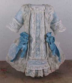 Wonderful Antique Dotted Batiste French Bebe Dress for JUMEAU, BRU, or other French Bebe Doll Z