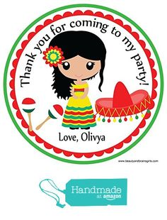 Mexican Spanish Themed Cinco de Mayo Personalized Birthday Party Favors- Custom Birthday Party Favor Stickers - Treat Tag Toppers- 24…
