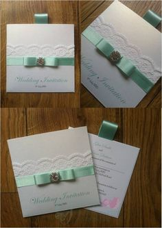 Mint Green Wallet Wedding Invitation with lace and diamante embellishment www.jenshandcraftedstationery.co.uk www.facebook.com/jenshandcraftedstationery