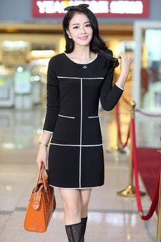 Long Sleeve Jacquard Weave Dress YRB0278