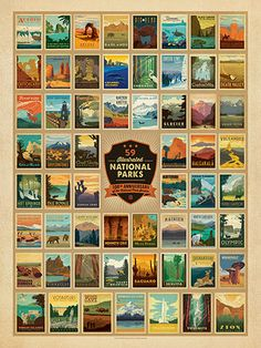 Anderson Design Group Postcards 61 National Parks Classic Poster Art (Now Featuring Gateway Arch and Indiana Dunes National Parks! American National Parks, Us National Parks, Usa Puzzle, Park Service, To Infinity And Beyond, Death Valley, Vintage Travel Posters, Adventure Is Out There, State Parks