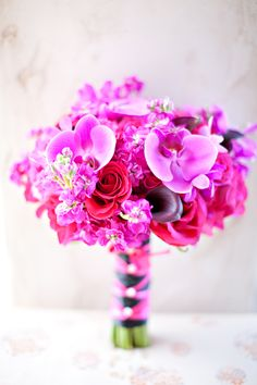 Fuchsia/Hot Pink Orchids, Hydrangea and Open Roses and Dark Purple Calla Lilies Bouquet