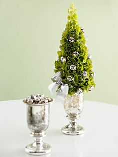Bells of Ireland Topiary  This topiary is a perfect addition to your St. Paddy's Day decor. Made from bells of Ireland, jingle bells, and a silver cup, this festive tree is easy to assemble. Insert stems into a florist's foam cone. Then randomly scatter jingle bells secured with twisted chenille stems. A satin bow makes a fancy finish.