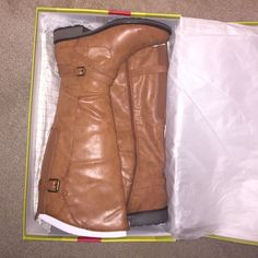 Cognac riding boots Brand NEW never worn! Riding boots Size 10 Shoes Winter & Rain Boots
