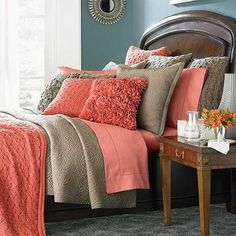 coral comforter sets  | Coral colored bedding sets | Picture Gallery