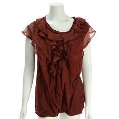 Lanvin Burgundy Silk Ruffle Blouse