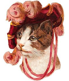 Victorian Scrap - diecut cat hat-free by Sassy Bella Melange, via Flickr