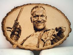 Merle from the walking dead pyrography I did. #pyrography #woodburning…