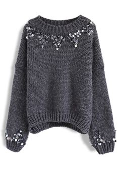 Focus on Sparkle Sequin Knit Sweater in Smoke - New Arrivals - Retro, Indie and ., Focus on Sparkle Sequin Knit Sweater in Smoke - New Arrivals - Retro, Indie and Unique Fashion. Unique Fashion, Cl Fashion, Look Fashion, Indie Fashion, Fashion Vintage, Retro Fashion, Sparkly Sweater, Sequin Sweater, Sparkly Tops