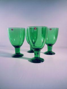 Mid century vintage Iittala Verna Wine Glasses Green Kerttu Nurminen.. made in Finland.. by fcollectables on Etsy