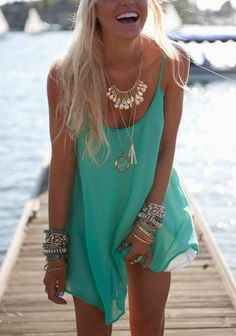 fashforfashion -♛ STYLE INSPIRATIONS♛: bohoaztec. golden and blue jewelry+blue dress.. summer outfit