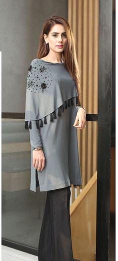 Latest Pakistani Dresses, Pakistani Outfits, Classy Casual, Casual Wear, Simple Dresses, Casual Dresses, Hijab Fashion, Fashion Dresses, Indian Designer Suits