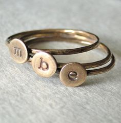 stack letter rings to spell out something I love