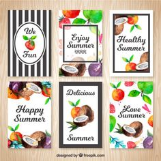 Cute summer cards with watercolor fruits Free Vector