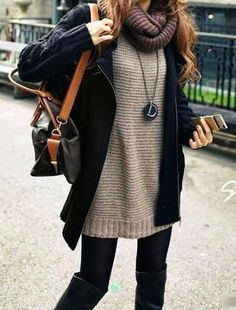 c0157ce1364 Oversized Sweater With Scarf Sweater Dresses