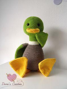 Eend Freddie. Haakpatroon van Dani's Creaties www.daniscreaties.nl