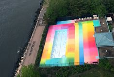 A Technicolor Swimming Pool Painted by HOTTEA on New York's Roosevelt Island  http://www.thisiscolossal.com/2015/05/a-technicolor-swimming-pool-hottea/