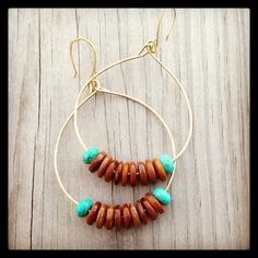 Turquoise and brown shell hoops.