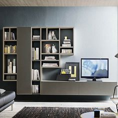Snare wall mounted bookcase and 2 wooden base units by Santa Lucia - Contemporary TV unit composition Snare by Orme, features a wooden wall mounted bookcase and 2 woode - Contemporary Tv Units, Modern Tv Wall Units, Tv Unit Design, Home Office Furniture, Living Room Furniture, Modern Furniture, Tv Plasma, Modern Tv Cabinet, Living Tv