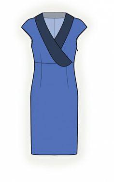 Lekala Dress With Shawl Collar - Sewing Pattern #4240